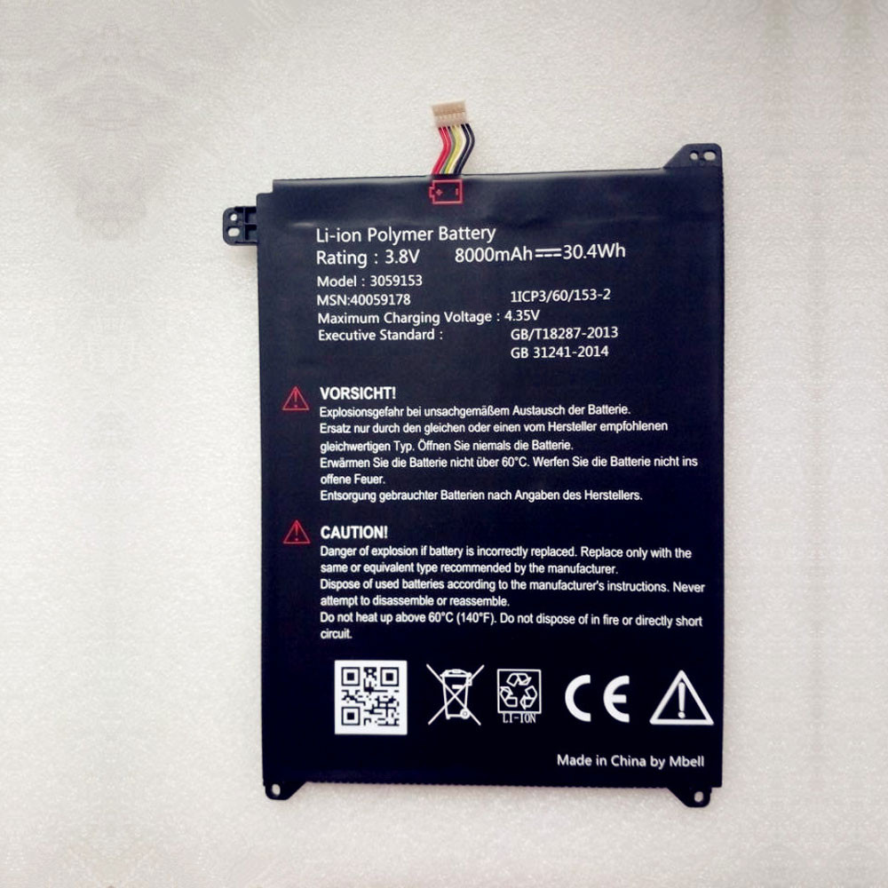 8000mAh/30.4Wh 3.8V 3059153 Replacement Battery for Lenovo 40059178 1ICP3/60/153-2