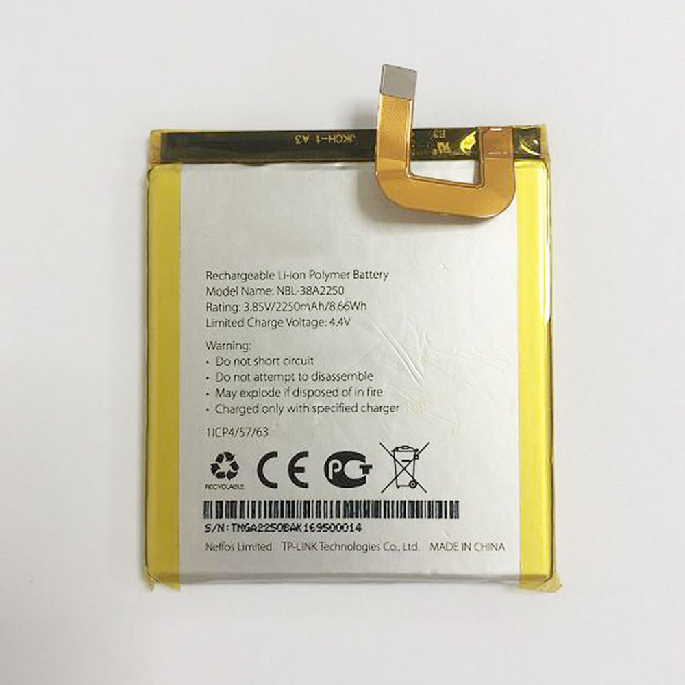 2250mAh/8.66WH 3.85V/4.4V NBL-38A2250 Replacement Battery for TP-Link NEFFOS X1 TP902A TP902C