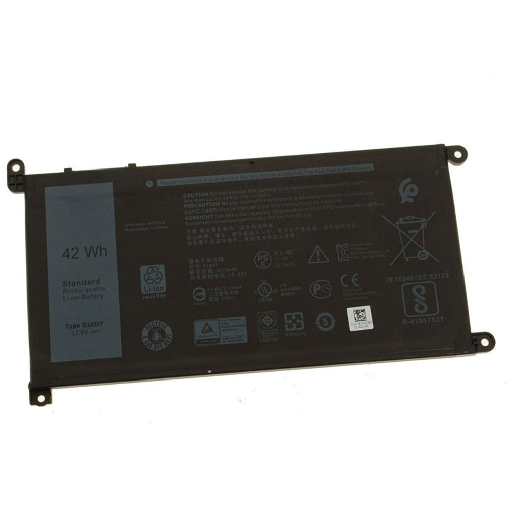42Wh 11.4V 51KD7 Replacement Battery for Dell Chromebook 11 3180 3189 Laptop Series
