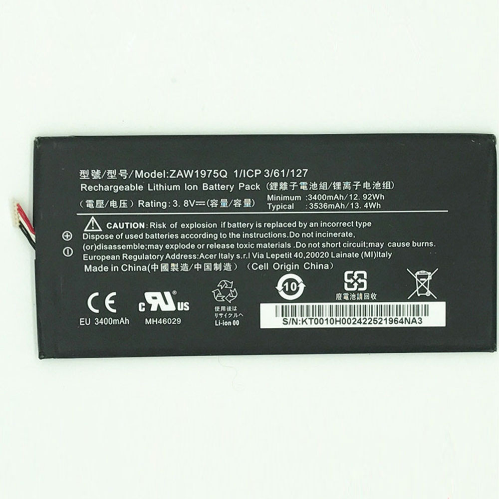 3400mah /12.92WH 3.8V/4.4V ZAW1975Q Replacement Battery for Acer A1-713 A1-713HD Iconia Tab7 LZ