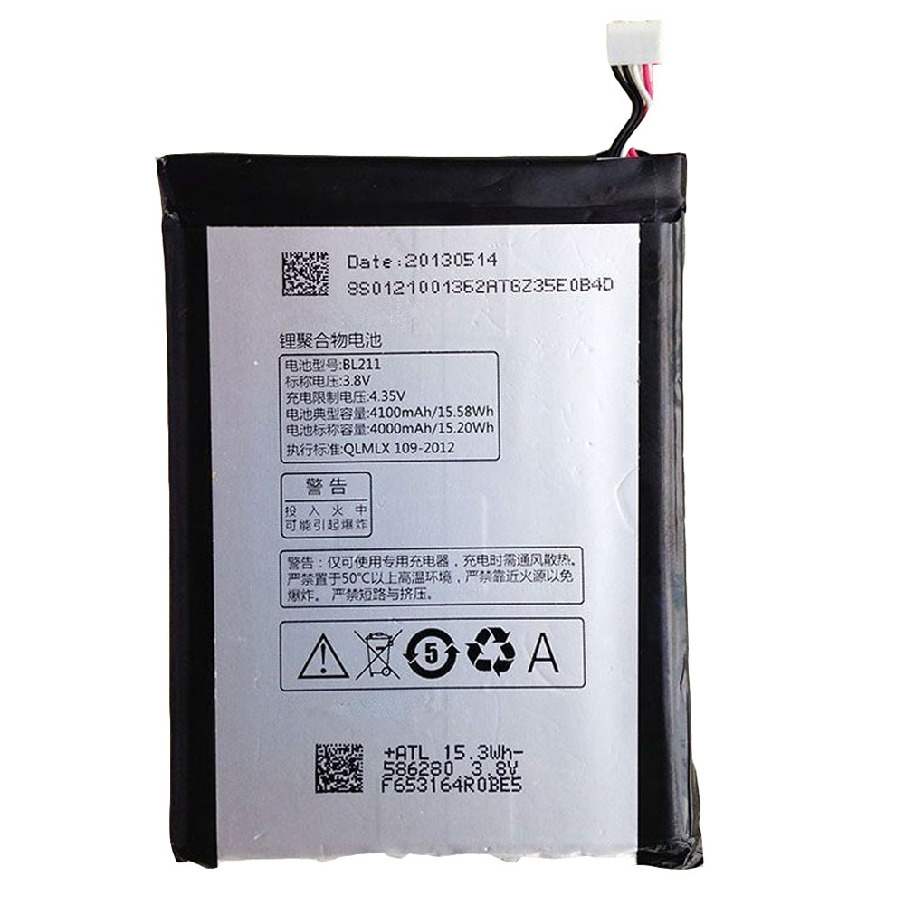 4000MAH/15.2Wh 3.8V/4.35V BL211 Replacement Battery for Lenovo P780