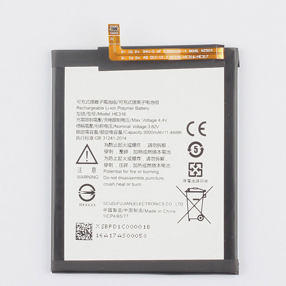 3000MAH/12.98WH 3.82V/4.4V HE316 Replacement Battery for Nokia 6 Nokia6 TA-1000 TA-1003