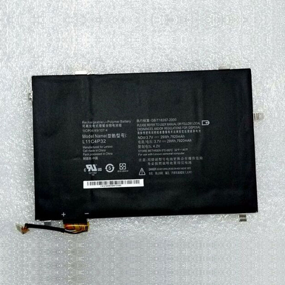 29Wh/7920mAh 3.7V L11C4P32 Replacement Battery for Lenovo 1ICP04/45/107-4 Series