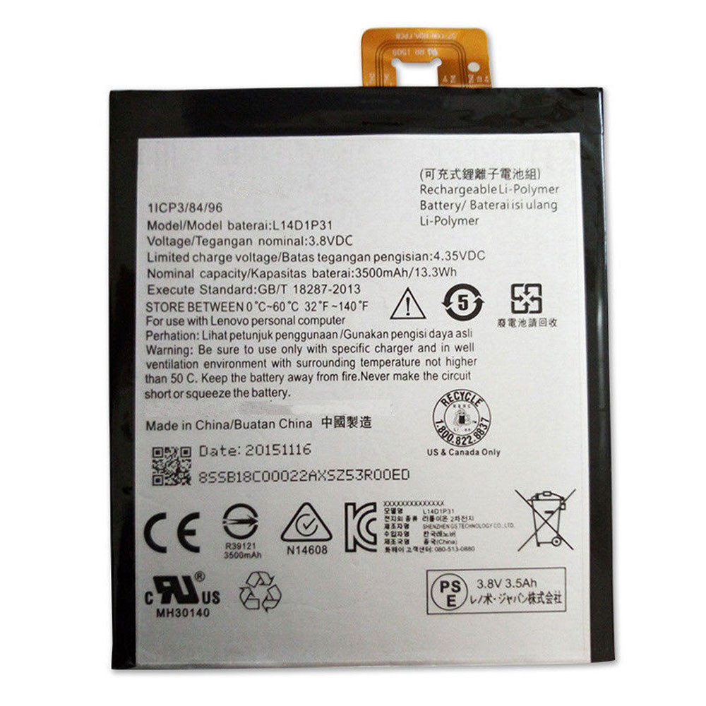 3500MAH/13.3Wh 3.8V/4.35V L14D1P31 Replacement Battery for Lenovo PB1-770N