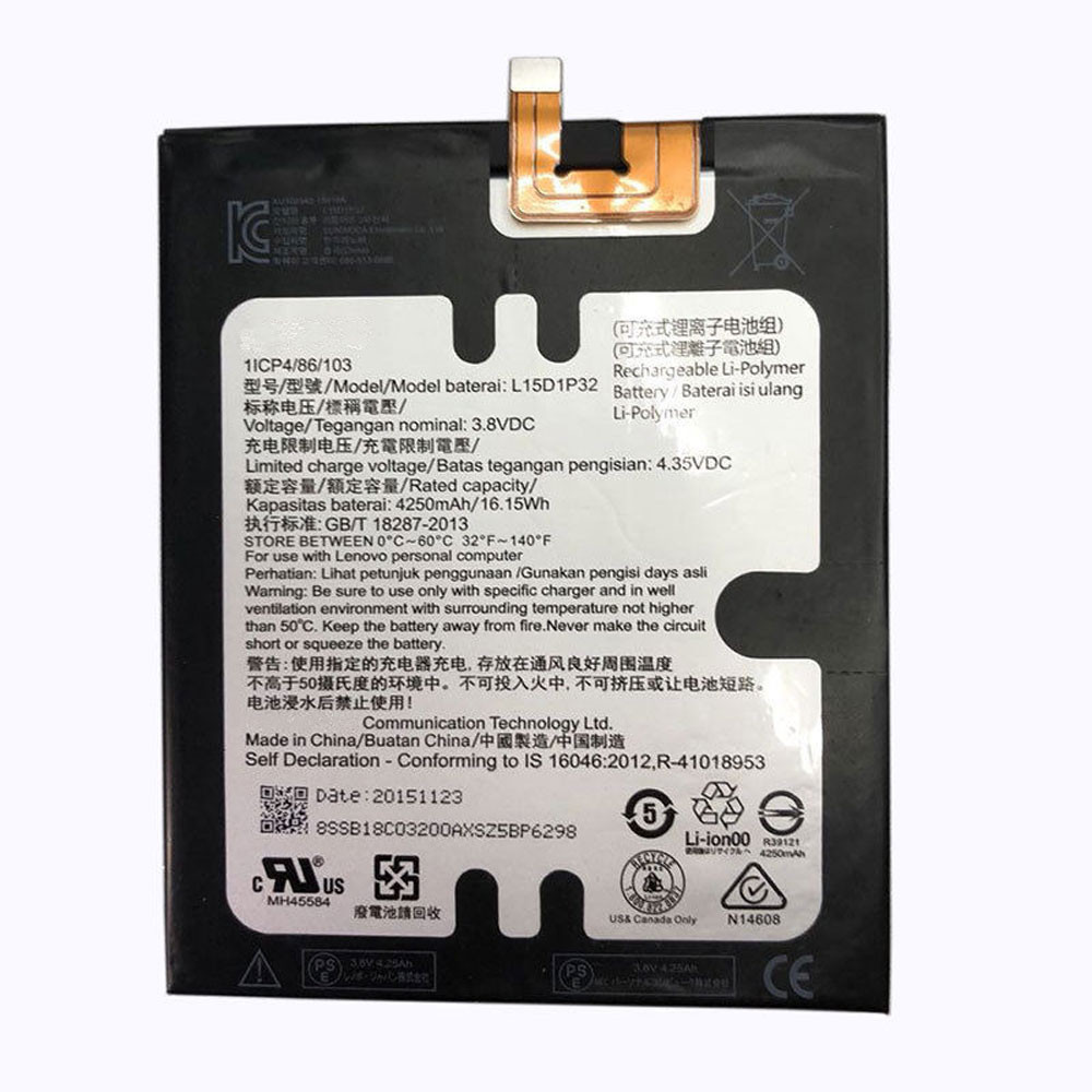 4250mAh/16.2WH 3.8V/4.35V L15D1P32 Replacement Battery for Lenovo Tab 3 8 Plus TB-8703F 8703N 8703 PB1-750N