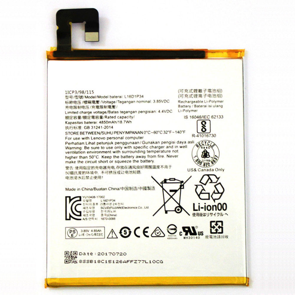 4850mAh/18.7WH 3.85V/4.4V L16D1P34 Replacement Battery for Lenovo TAB4 8 TB-8504N TAB4 8 plus 1ICP3/98/115
