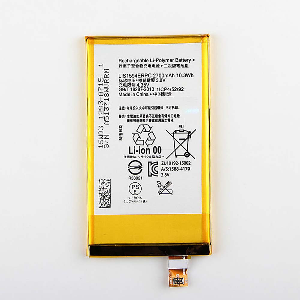 2700 mAh/10.3wh Sony Z5 compact Z5C Z5 mini E5823 Replacement Battery LIS1594ERPC 3.8 DVC