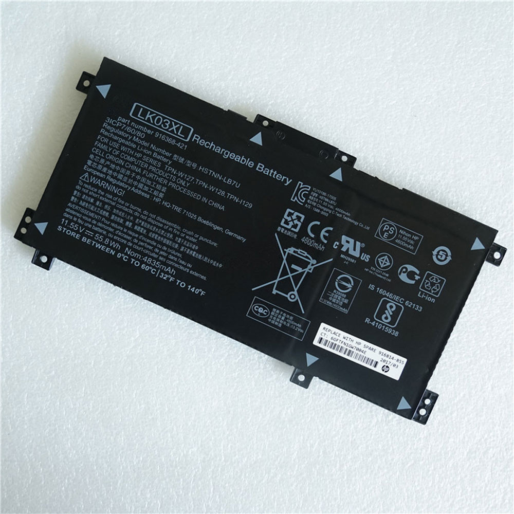 55.8Wh/4835mAh 11.55V LKO3XL Replacement Battery for HP HSTNN-LB7U TPN-W127/W128 TPN-I129 Series