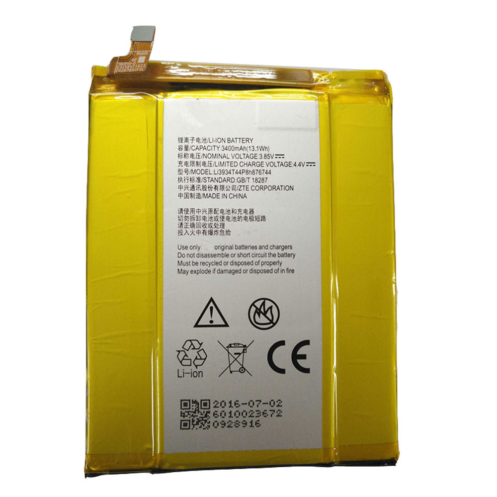3400mAh/13.1WH 3.85V/4.4V Li3934T44P8h876744 Replacement Battery for ZTE GRAND X MAX 2 Z988 ZMAX PRO Z981