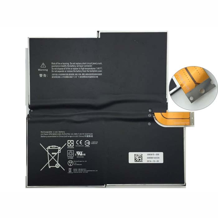 5547MAH/42.2WH MICROSOFT SURFACE PRO3 3 Replacement Battery 1577-9700 MS011301-PLP22T02  7.6V