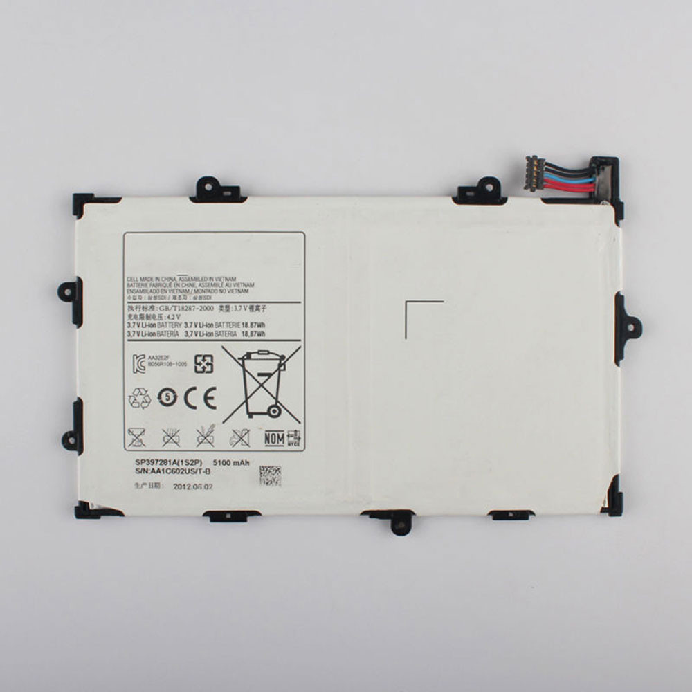 5100MAH/18.87Wh 3.7V SP397281A Replacement Battery for Samsung Tab 7.7 GT-P6800 P6800 SCH-I815