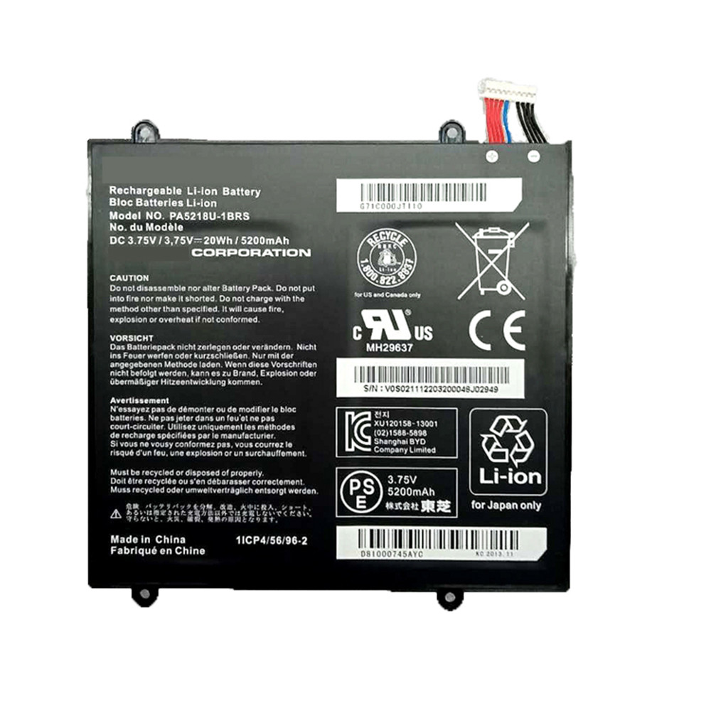 5200mAh/20WH 3.75V PA5218U-1BRS Replacement Battery for Toshiba PA5218U-1BRS