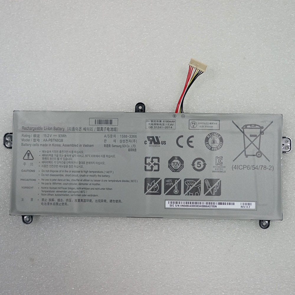 93Wh/6180mAh 15.2V AA-PBTN8GB Replacement Battery for Samsung 1588-3366 Tablet