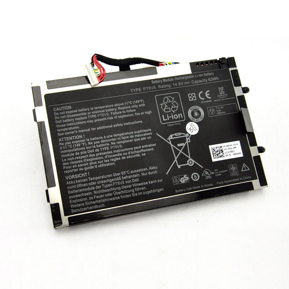 4800mAh/63WH 14.8V PT6V8 Replacement Battery for Dell Alienware M11x M14x R1 R2 R3 T7YJR P06T 8P6X6 08P6X6