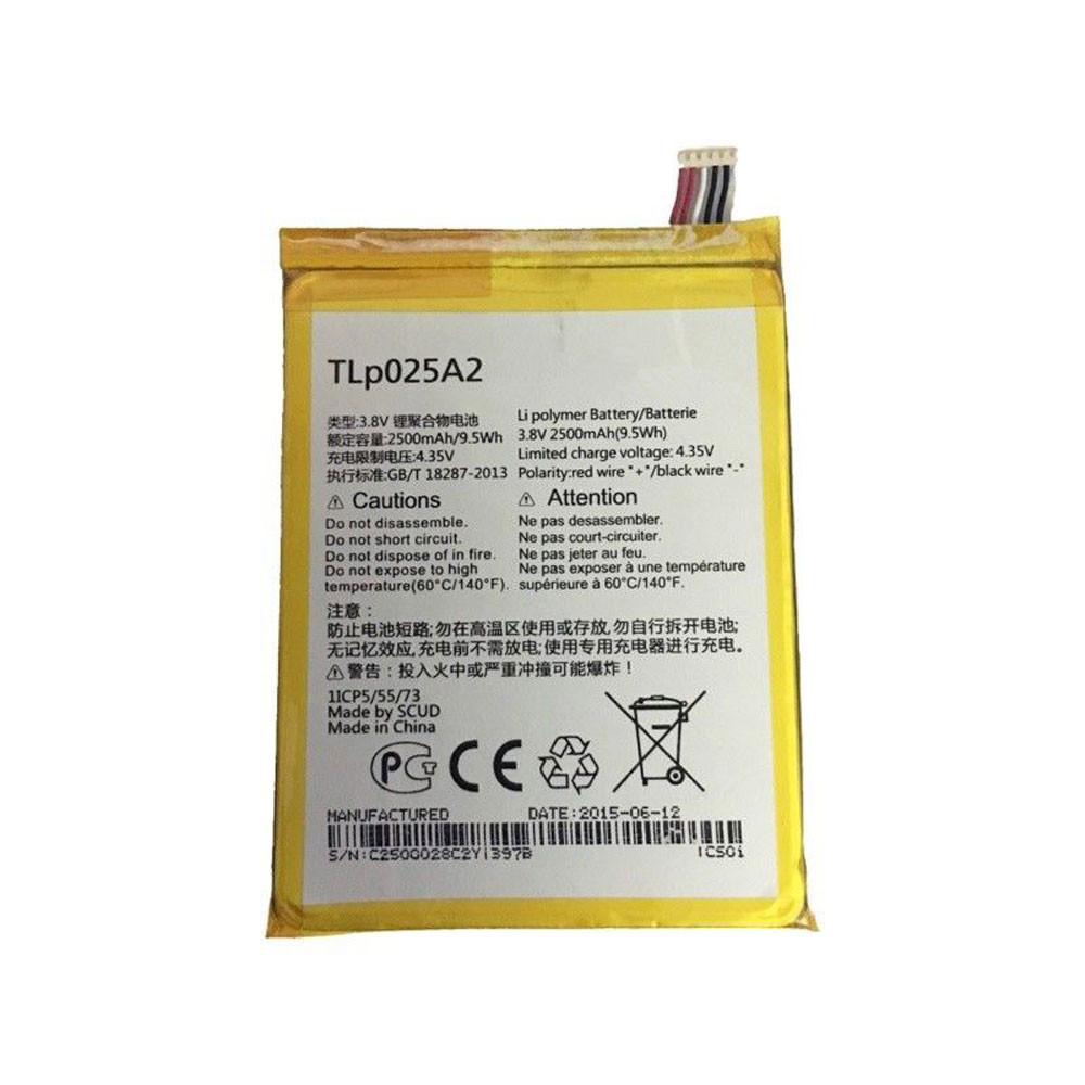 2500MAH/9.5Wh 3.8V/4.35V TLp025A2 Replacement Battery for Alcatel One Touch Scribe HD OT-8008 8008A 8008D