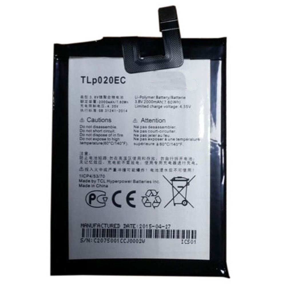 2000MAH/7.6Wh 3.8V/4.35V TLp020EC Replacement Battery for Alcatel Onetouch