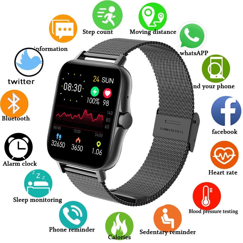 Smart watch Men Smartwatch men Bluetooth-compatible Call Watch Waterproof Fitness Tracker Music Control Body Temperature Measure
