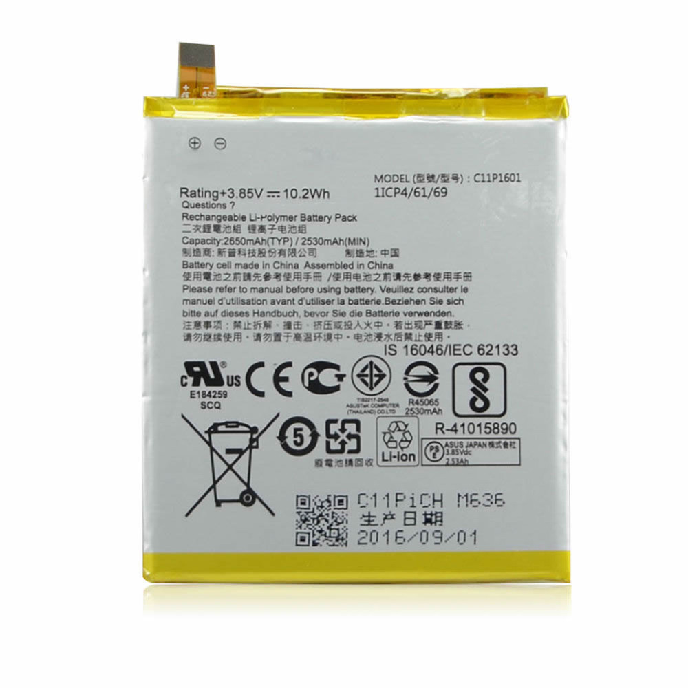10.2Wh/2650mAh Asus ZenFone 3 ZE520KL Replacement Battery C11P1601 3.85V