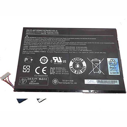 7300mAh/27Wh Acer Iconia W510 W510P Series Table Replacement Battery AP12D8K 3.7V