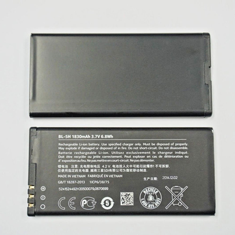 1830MAH/6.8WH 3.7V BL-5H Replacement Battery for Nokia Lumia 630 635 636 638