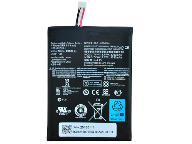 3700mAh/3.7wh lenovo ideapad A2107A A2207 A2 Tablet Replacement Battery L12T1P3 3.7V/4.2V