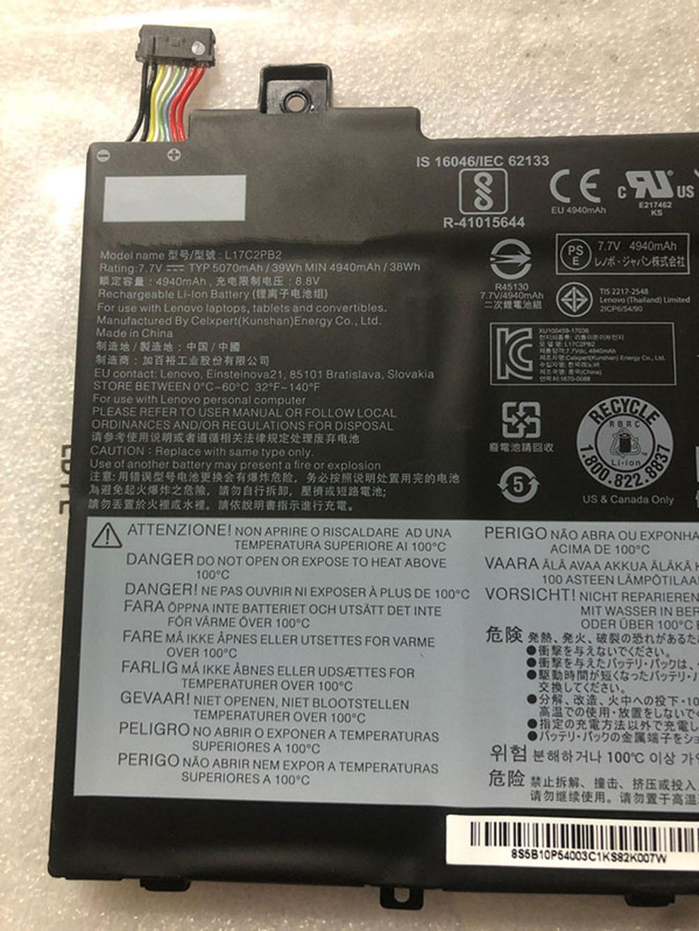 39Wh 7.7V/7.68V/7.72V L17C2PB2 Replacement Battery for Lenovo V330-14ARR V330-14IKB