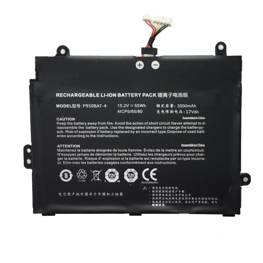 55Wh / 3500mAh Clevo P950BAT-4 Replacement Battery Rechargeable LI-ION 15.2V